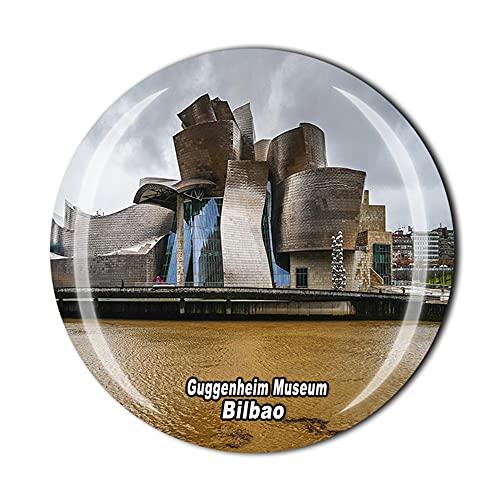 Imán para nevera de 3D Guggenheim Museum Bilbao con cristal estilo recuerdo para el hogar y la cocina, colección de regalo