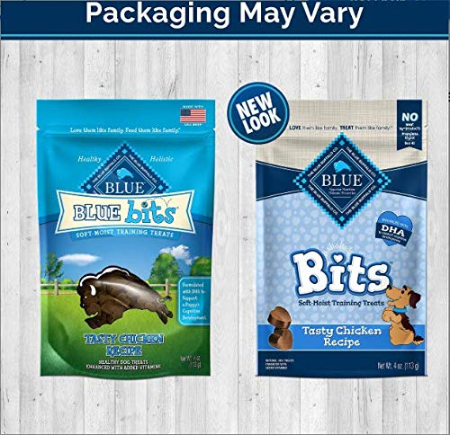 Blue Buffalo Blue Bits Natural Soft Moist Training Treats For Dogs 3 Flavor Variety Bundle: (1) Blue Bits Tender Beef Recipe Treats, (1) Blue Bits Tasty Chicken Recipe Treats, and (1) Blue Bits Tempting Turkey Recipe Treats, 4 Oz. Ea. (3 Bags Total)