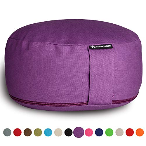 BODYMATE Meditation Cushion/Yoga Pillow D31cm H13cm – Removable washable 100% Cotton Cover - Inner cotton bag filled with buckwheat husks