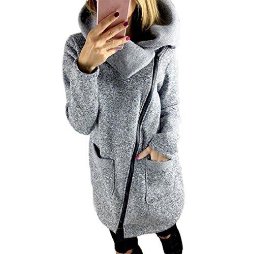 TWBB Bekleidung Damen Mantel, Lässige Kapuzenjacke Mantel Lange Reißverschluss Sweatshirt Outwear Tops (L, Grau)