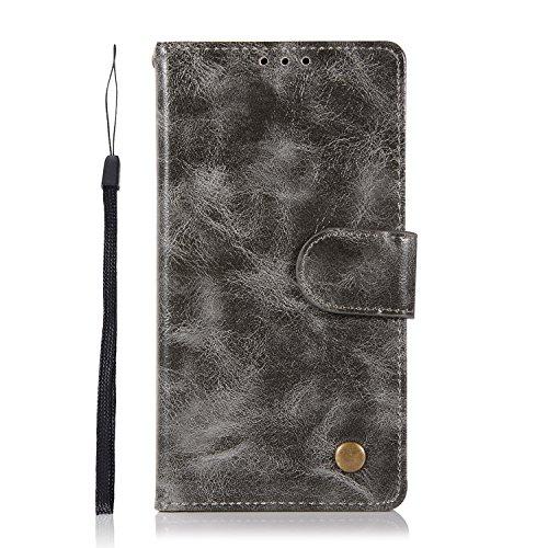 Sunrive Hülle Für BlackBerry DTEK50 / Alcatel Idol 4, Magnetisch Schaltfläche Ledertasche Schutzhülle Etui Leder Hülle Cover Handyhülle Schalen Handy Tasche Lederhülle(J Grau 1)+Gratis Eingabestift