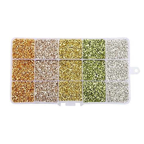 YOURPAI Etiqueta engomada del clavo, 1 caja de cristal triturado piedras brillantes Irregular chips de vidrio epoxi resina molde relleno oro