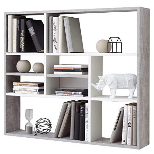 FMD furniture Wandregal, Holz, Beton / Weiß, ca. 90 x 78 x 16 cm