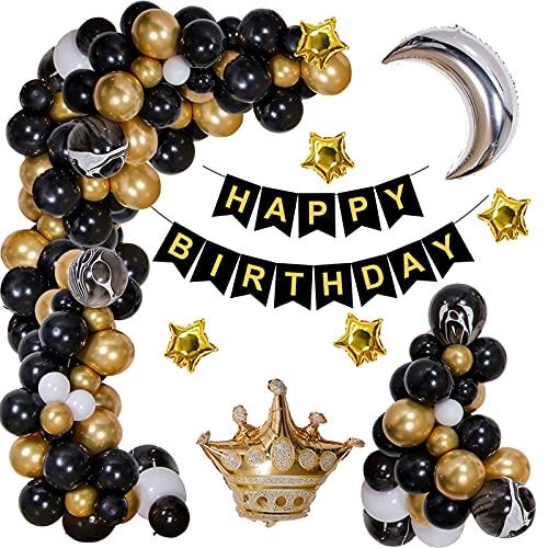 Kit Ghirlanda Palloncini,Oro Nero Balloon Arch Kit, Uomo Decorazione Di Compleanno Con Striscione Di Buon Compleanno Per Decorazioni Di Compleanno Nozze Baby Shower Party Supplies