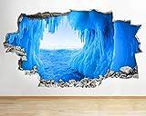 3D pegatinas de pared pegatinas de pared cueva de hielo congelado naturaleza azul aplastado calcomanía 3D arte vinilo habitación 0 arte cartel