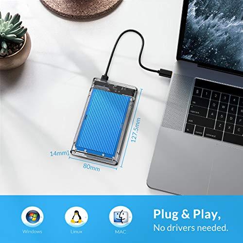 ORICO 2,5 Zoll Externes Festplattengehäuse USB 3.0 auf SATA 3.0 Festplattengehäuse für 7-9.5 mm 2.5 Zoll HDD SSD bis zu 4 TB mit USB 3.0 Kabel, Werkzeuglos [Transparent mit Blau Aluminium]