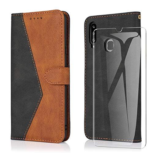 ARRYNN für Samsung Galaxy A20s Leder Hülle mit Panzerglas,Handyhülle für Samsung Galaxy A20s Handy Hülle,Flip PU Tasche Schutzhülle Samsung Galaxy A20s (Schwarz)