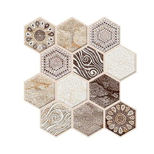 Kagodri Pegatinas tridimensionales de azulejos 3D, 5 piezas de PVC anti-colisión auto-adhesivo decoración del hogar pegatinas impermeable simulación azulejos