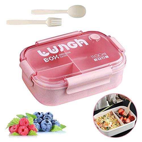 Brotbox Kinder,Lunchbox mit Fächern,Brotdose Kinder,Bento Box Kinder,Lunchbox Picknick,Lunchbox Kinder (Rosa 6)
