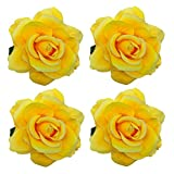 Sanrich 4pcs/pack Mexican Hair Flowers Fabric Rose Hair Flowers Clips Hairpin Brooch Hair Accessory Wedding Party Headpieces (yellow)