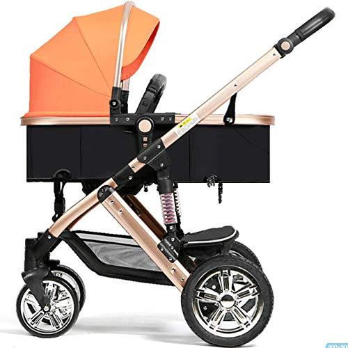 Klappbarer Baby-Kinderwagen mit hoher Querformat, Zwei-Wege-Babywagen, Kinderwagen mit Lederschiebegriff, zum...