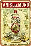 Bigyak Anis Del Mono - Letrero tradicional vintage con logotipo de 12 x 8 publicidad y llamativo decoración de pared