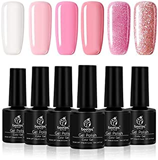 Beetles Pale Pink and Glitter Gel Polish French Manicure - White Gel Nail Polish Set Soak Off UV LED Nude Pink Gel Kit, Shine Finish and Long Lasting 7.3ml Each Bottle