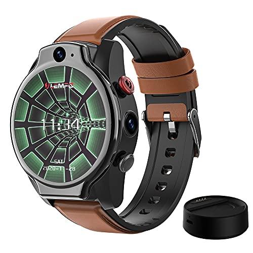 LEM14 SmartWatch Android 10 IP68 Impermeable 4G Reloj Inteligente Hombre GPS 1.6 pulgadas 1100mah Batería Dual Cámara Cara ID 64G MingYuChangHu (Color: Añadir banco de energía)