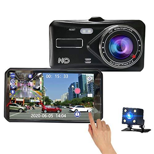Cámara de Tablero 1080p Mini Coche DVR DVR 4 Pulgadas Touch Pantalla táctil Dos cámaras Dash CAM Auto Digital Grabador de Video Estacionamiento Monitoreo Cámara de Coche