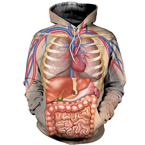 MJDSVWCS 2020 Humanidad Estructura del Cuerpo Humano vísceras 3D Sudaderas con Capucha/Sudadera Invierno otoño Sudaderas largas Selvee Harajuku Beige 4XL