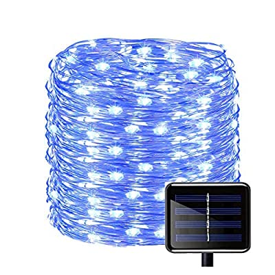 Outdoor String Lights, Solar Copper Wire Fairy String Light 150 LED(50ft) Waterproof Christmas Decoration String Lights Ambiance Lighting for Christmas Tree Patio Party Garden Wedding Halloween(Blue)
