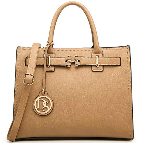 """MATERIALS: Pebbled vegan leather (PU) exterior. Interior fully-lined fabric. Matching faux leather shoulder strap, top handle. SIZES: approx. 13.75""""W x 11.0""""H x 5.5""""D., handle drop length: 6""""; The handbag has sufficient space for your daily essential..."""