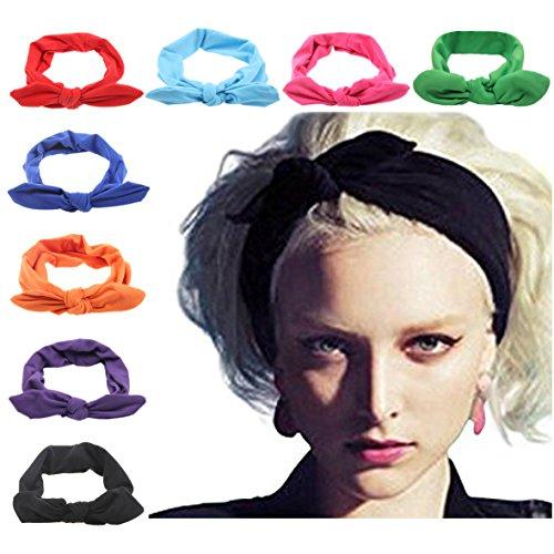 DRESHOW 8 PCS Mujeres Turban Headbands Headwraps Cintas para el pelo Arcos Accesorios