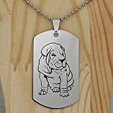 Aluyouqi Co.,ltd Collar de Acero Inoxidable Shar Pei Hound Dog Colgante Collar Joyas para Perros