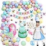 Decoraciones de fiesta de cumpleaños, globos de feliz cumpleaños Banner Elf Girl Set de...