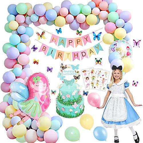 Decoraciones de fiesta de cumpleaños, globos de feliz cumpleaños Banner Elf Girl Set de fiesta de cumpleaños para niñas niños novia hija mujeres