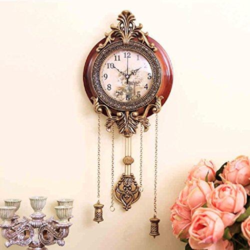 Europ?ische klassische Wohnzimmer Wanduhr stille Wohnzimmer Metall Holz urspr¨¹ngliche Bewegung Uhr mit Pendel