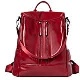BROMEN Women Backpack Purse Leather Anti-theft Travel Backpack Fashion Shoulder Handbag Wine Red