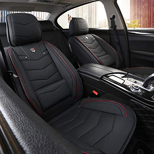 INCH EMPIRE Car Seat Cover-Water Proof Synthetic Leather Cushion with Built-in Lumbar Support Front and Back Universal Fit for Sedan SUV Truck Hatchback Durable Use(Black with Red Trim Full Set)