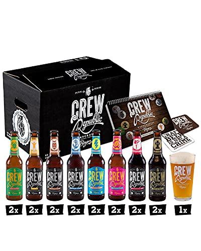 CREW REPUBLIC® Craft Bier Mix Probierset | Ideales Geschenk für Männer | Bierspezialitäten aus Bayern nach deutschem Reinheitsgebot | Inkl. Verkostungsglas und Tasting Notes (16 x 0,33l)