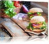 Pixxprint Leckere Burger / 100x70cm Leinwandbild bespannt auf Holzrahmen/Wandbild Kunstdruck...