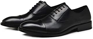 Happy-L Shoes, Classic Business Oxford for Men Formal Dress Shoes Lace up Genuine Leather Low Block Heel Pointed Toe Stitching Anti-Slip Patchwork
