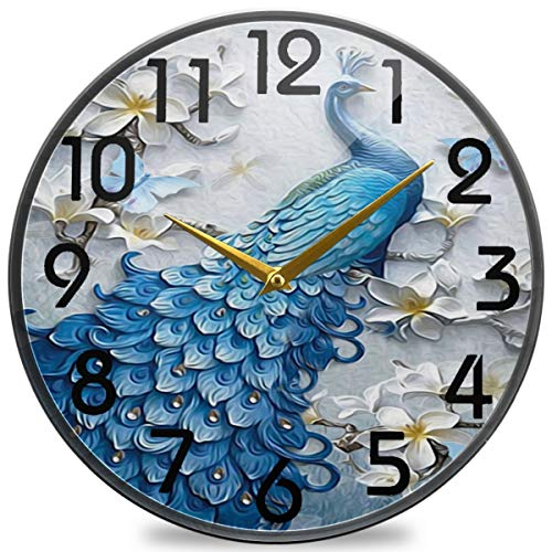 Naanle 3D Wall Beautiful Peacock Flowers Print Print Round Wall Clock, 9.5 Inch Silent Battery Operated Quartz Analog Quiet Desk Clock for Home,Office,School