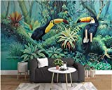 Papel Pintado Pared Dormitorio Fotomurales Decorativos Pared Tapiz De Pared 3D Tucán De Plantas De La Selva Tropical Pintado A Mano Papel Pintado Cuadros Habitacion Bebe Posters Mural Pared
