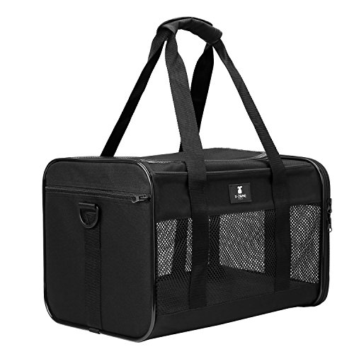 X-ZONE PET Airline Approved Soft-Sided Pet Travel Carrier for Dogs and Cats, Black