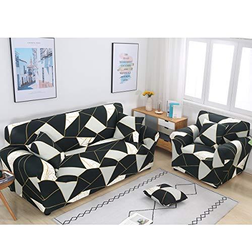ele ELEOPTION Funda elástica para sofá en Diferentes tamaños y Colores (2 plazas para sofás de 130 a 170 cm, geométrica B)