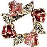 Rose Wreath Crystal Rhinestone Gold-Tone Brooch Pin - Pink