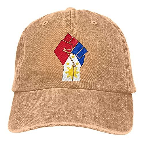 N \ A Gorra de mezclilla ajustable con diseño de bandera de Filipinas, unisex, color negro