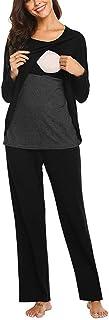 Women's Maternity Nursing Pajama Set Long Sleeve Double Layer Breastfeeding Nightgown Pregnancy Sleepwear