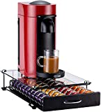 Rice rat Pod Holder for Nespresso Vertuo Capsule Pods Storage Drawer For Vertuoline With Crystal Tempered Glass (40 Pods with handle)