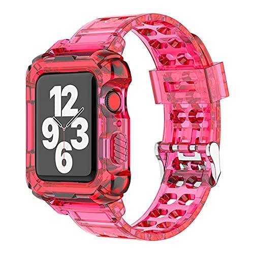 AISPORTS Compatible con Apple Watch Case de 40 mm y 38 mm con correa, transparente y suave, silicona TPU, resistente y resistente con correa para Apple Watch SE/iWatch Series 6/5/4/3/2/1