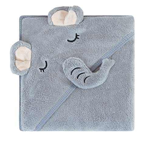 """Catteyonce Coral Fleece Hooded Baby Bath Towel-Ultra Soft, Absorbent and Hypoallergenic-Baby Bath Towels for Newborn Boy and Girl(Grey Elephant, 35.1"""" x 35.1"""")"""