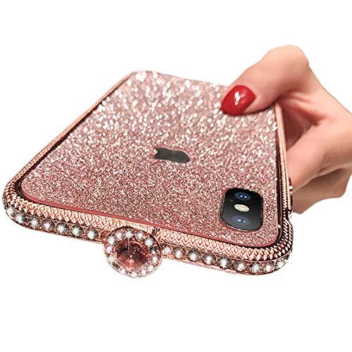 IPLUS iPhone Xs Max calcomanía brillante para la piel, con purpurina brillante y marco de metal con diamantes de imitación, cobertura completa para niñas y mujeres