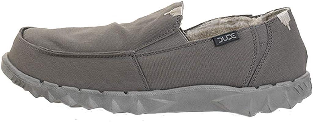 Dude Shoes Bord/ée De Fourrure Masculine Farty Chalet Lav/é Gris Fonc/é