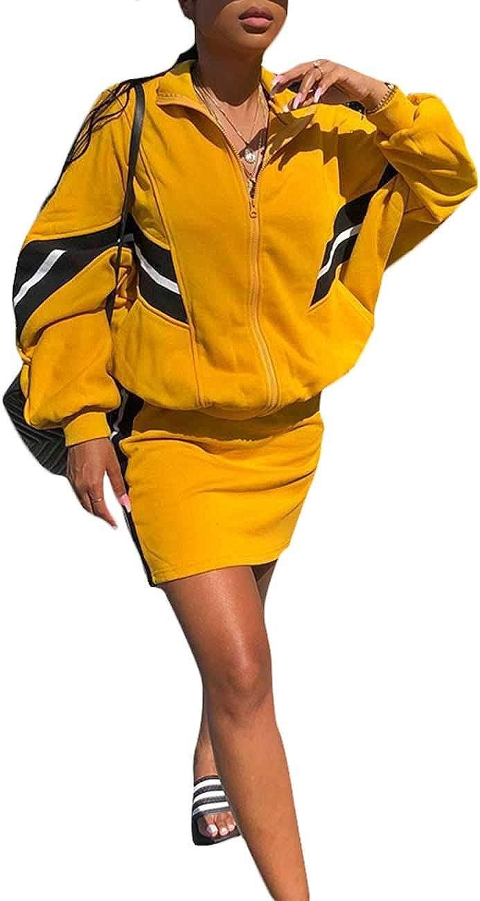 Angsuttc Women's Casual 2 40% OFF Cheap Sale Piece Outfit Up Sleeve Long Zipper Washington Mall Jac