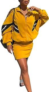 Women's Casual 2 Piece Outfit Long Sleeve Zipper Up Jacket+Mini Skirt Set