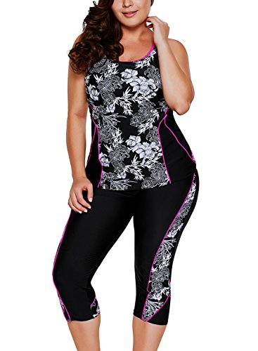 Aleumdr Womens Floral Printed Racerback Cut Out Padded Cami Tankini Top Set Swimsuits with Swim Capris Plus XL Size Black