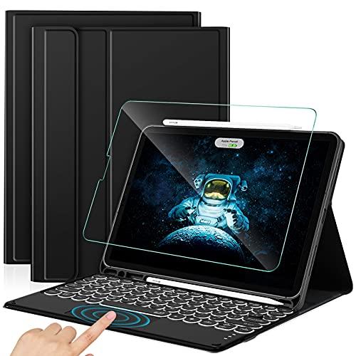 Sross-TEC Funda con Teclado para iPad Air 4, Español Ñ iPad Air 4 10.9 2020 Teclado con Touchpad &Protector de Pantalla, Negro