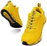 LARNMERN PLUS Zapatillas Hombre Mujer Sneakers Ligeras Deportivas Asfalto Calzado Amarillo 42