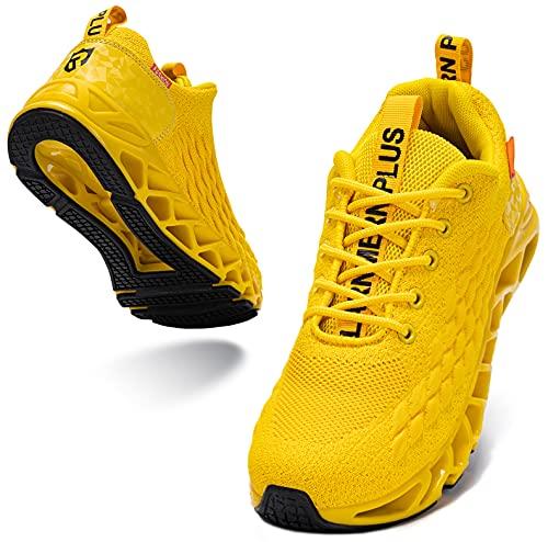 LARNMERN PLUS Zapatillas Hombre Sneakers Ligeras Deportivas Asfalto Calzado Amarillo 43
